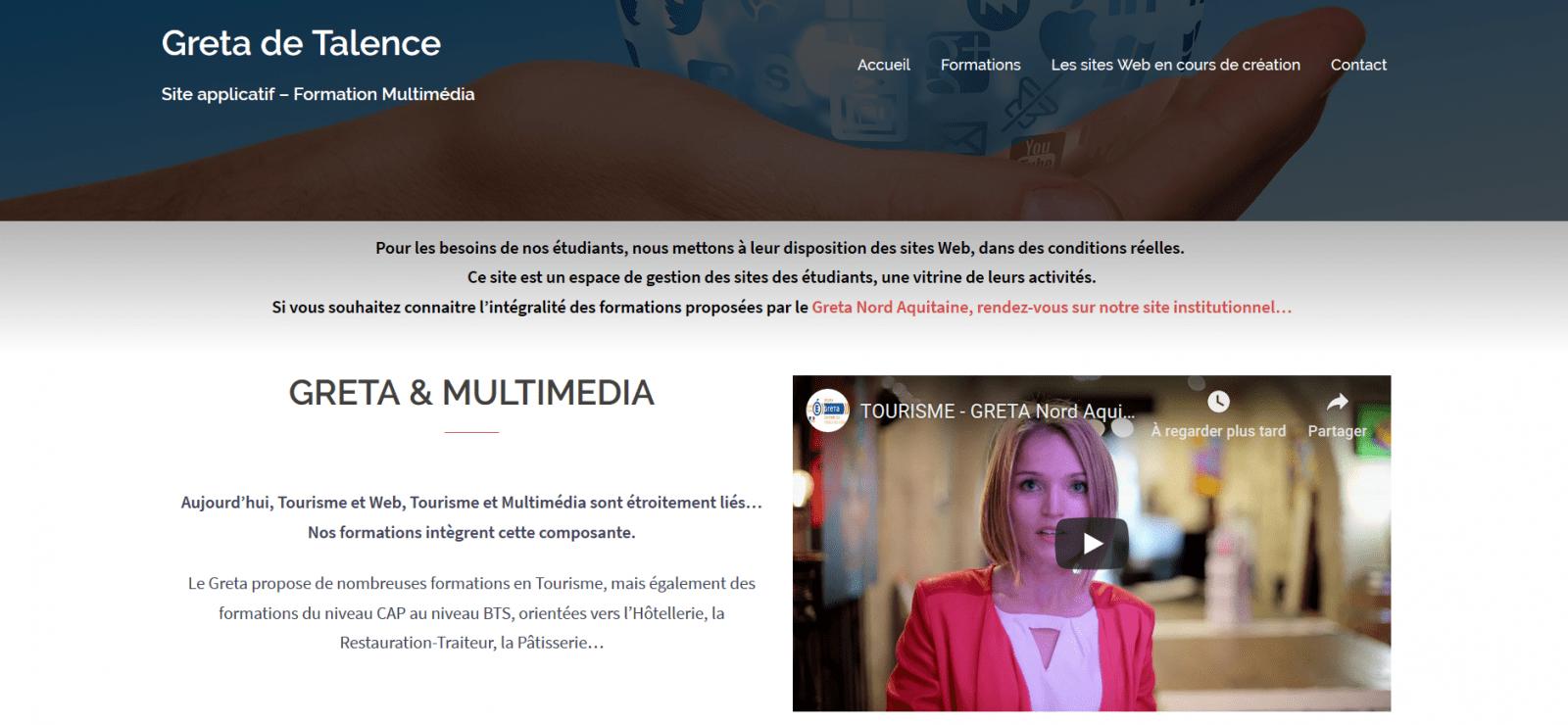 Sites applicatifs des étudiants en Multimédia 1